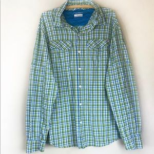Columbia Omni-Shade Green And Teal Button Down
